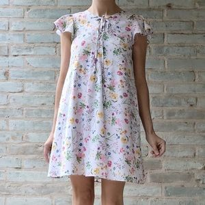 Cece Floral Dress White Lace-Up Botanical Mini
